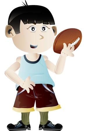 Vector illustration of kid holding football ball