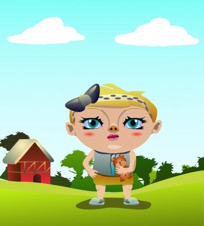 Vector illustration of little girl in the farm Stock Illustration - 15606985