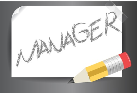 Illustration of a Manager text written on post it on a vector image