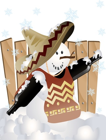 Vector illustration of Mexican Christmas snowman illustration