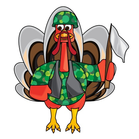 Vector image of a military turkey holding a flag photo