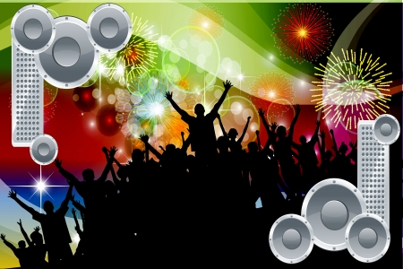 New Wave Party People in a Large party vector background Фото со стока