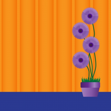 Vector illustration of a purple perennial daisies in a pot