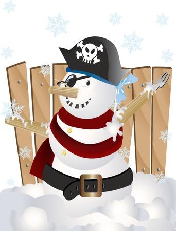 Vector illustration of Pirate snowman Stock Photo
