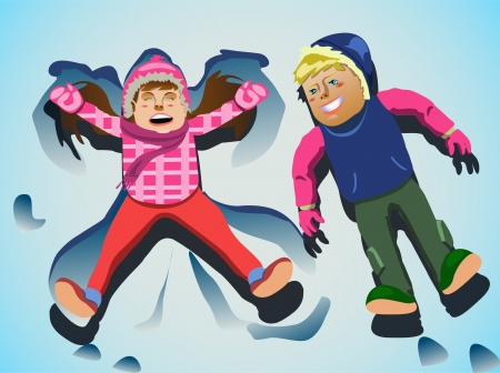 girl: Clip-art two kids making snow angel Stock Photo