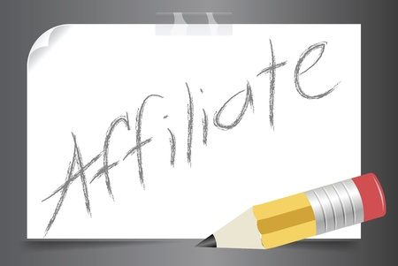 posted: Posted affiliate concept written in a paper using a pencil vector image