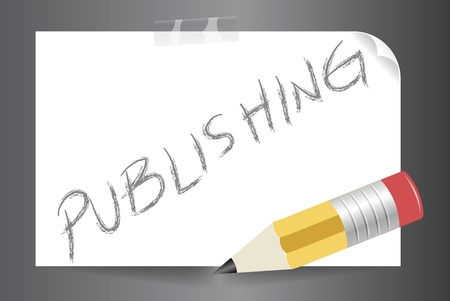 article writing: Vector image of publishing concept in written in paper using a pencil