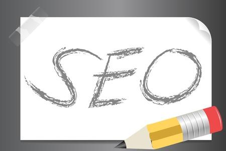 seo: Vector illustratie van SEO op een wit papier met potlood Stockfoto