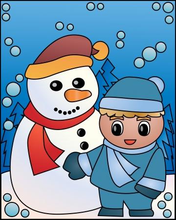 newyear: Christmas snowman beside a little boy clip-art