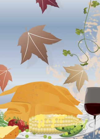 Thanksgiving poster clip-art with roasted turkey, wine and autumn leaves Zdjęcie Seryjne - 15616918