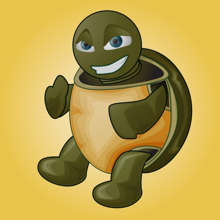coldblooded: Clip art illustration of a turtle over a yellow background