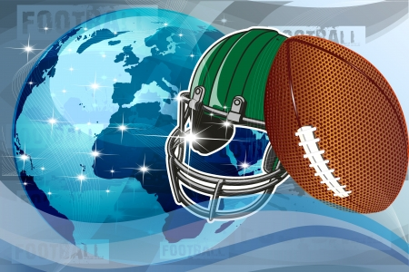 Vector illustration of American football and helmet