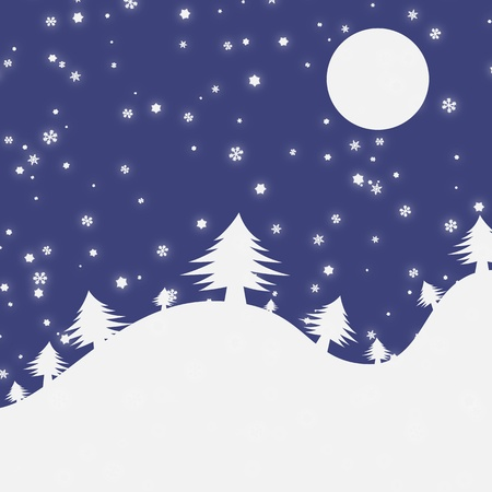 Vector image of winter Christmas at night