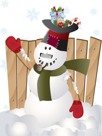 Vector illustration Christmas snowman standing in the winter snow  illustration