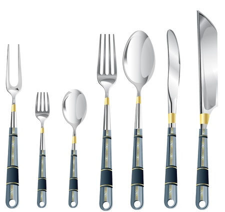 blade: Vector illustration of a cutlery set over the white background Stock Photo