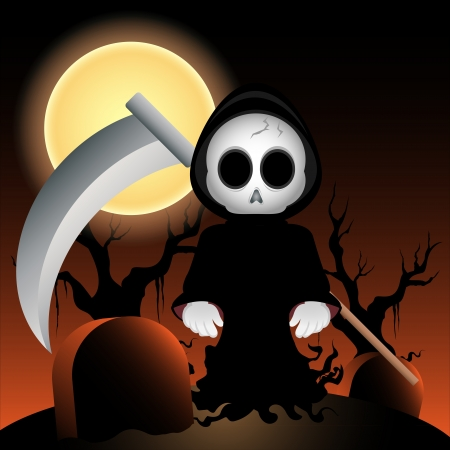 Vector illustration of a grim reaper at night illustration