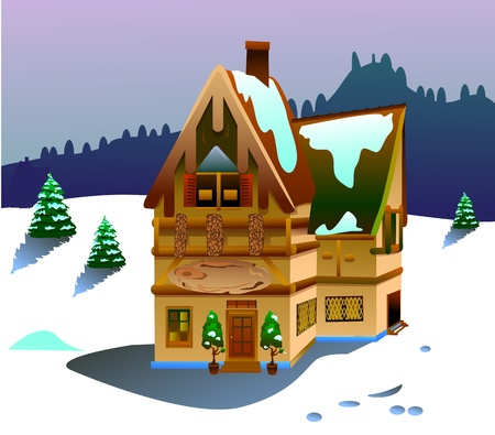 Vector illustration of house on winter time Stock Photo