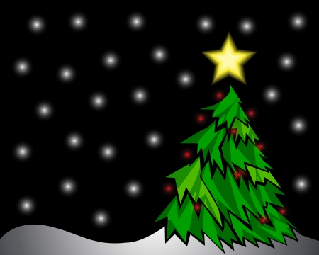 Vector illustration of a pine tree and star at night Stock Illustration - 15606953