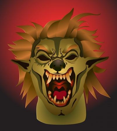 beast creature: Scary werewolf mask vector image Stock Photo