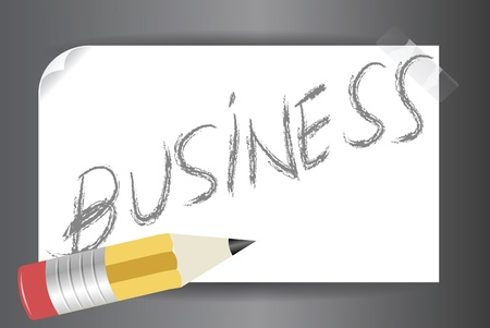 sticky note: Illustration of word  business  written on a post it on a vector image