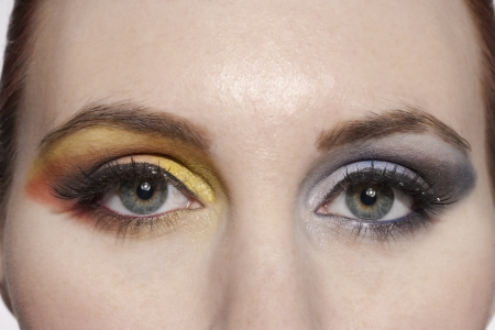 Close-up image of a woman with a beautiful eyeshadow makeup