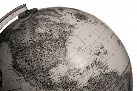 A horizontal close-up image of a black-and-white image of the globe over white background  Stock Photo