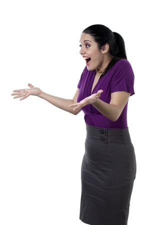 白人の女性彼女を身振り手の偉大な驚いた