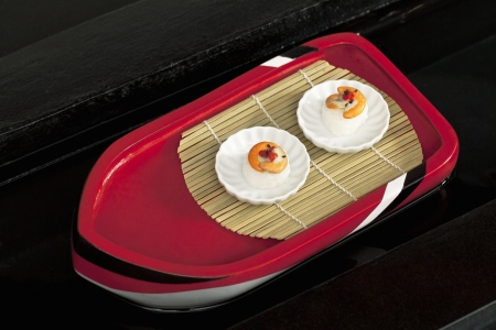 Imagen Vista superior de un rollo de sushi japon�s photo