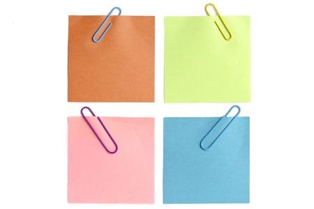 Close-up shot of colorful paper clips and adhesive notes. Stock Photo - 15837126