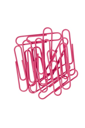 Image of pink paper clips isolated on white background Stock Photo - 15837026
