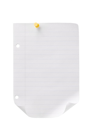 Close-up shot of a blank page with yellow pushpin. Stock Photo - 15837036