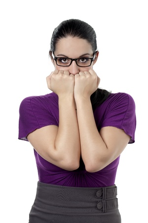 bashfulness: Portrait of shy lady with eye glasses against white background