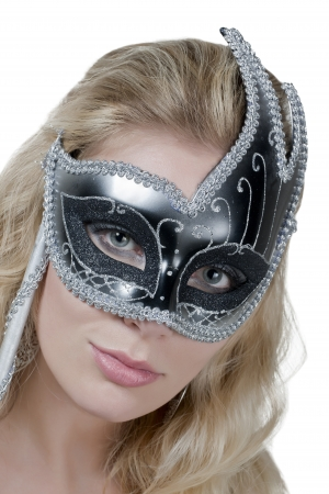 Portrait of caucasian woman wearing a black mask photo