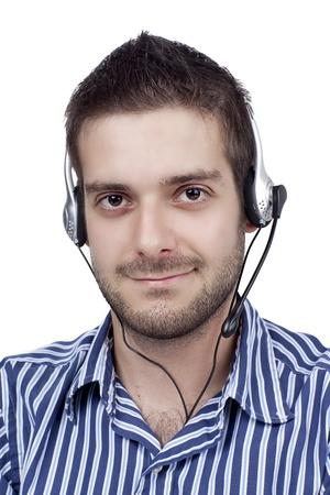 Handsome male call center operator over white background, Model  Adam Mirani Stock Photo - 16967257