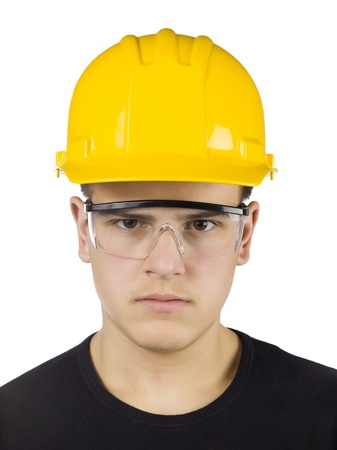 20 23 years: Close-up image of a handsome male carpenter isolated on a white background Stock Photo
