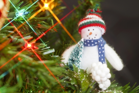 Hanging snowman on a Christmas tree Stock Photo