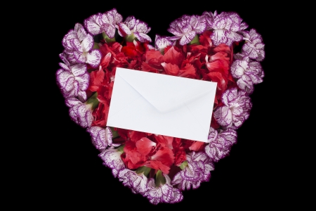 Heart shape image of the red and purple carnation flower with invitation card