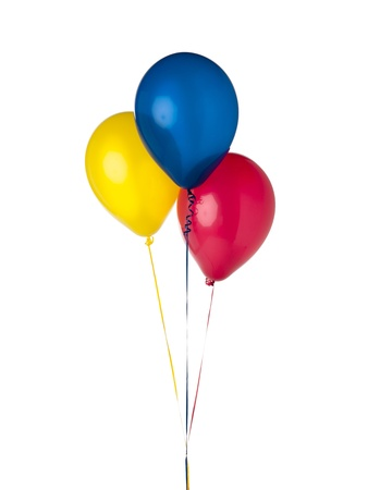 Balloons with different colour photograhed against a white background  Stock Photo