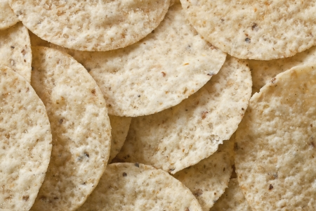 totopos: Close-up image of a crunchy barbecue flavor corn chips