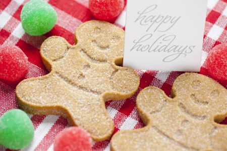 Close-up cropped image of gingerbread candies with happy holidays tag over red checked napkin  Stock Photo - 16211279