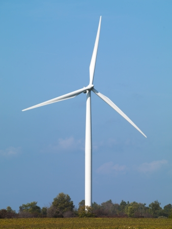 environmental conversation: Wind turbine in a field with blue sky in the background