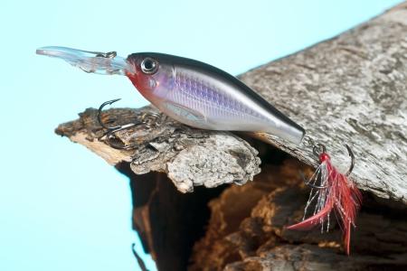 balsa: Een afbeelding van een visserijlokmiddel boven het hout tegen blauwe achtergrond