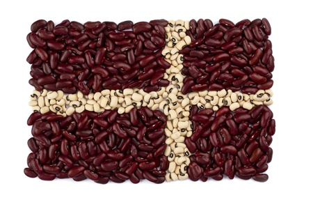 Close-up shot of red and white kidney beans forming a flag  Stock Photo - 16212238