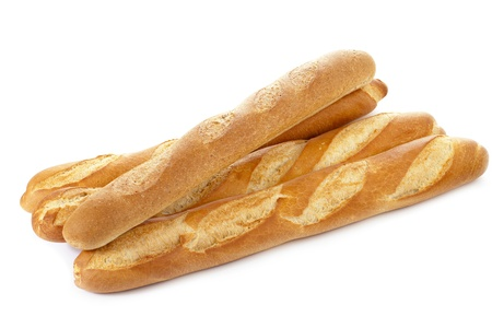 Fresh baguettes isolated in a white background Stock Photo - 16211633