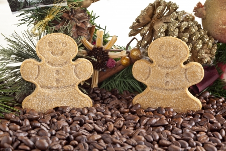 Close-up shot of gingerbread cookies and coffee beans