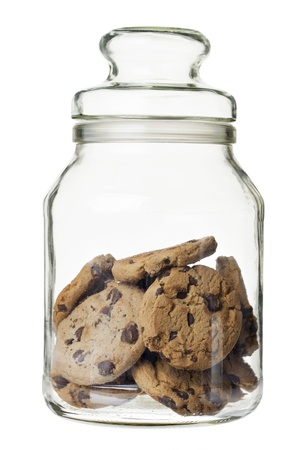 Chocolate chip cookies on a glass jar photo