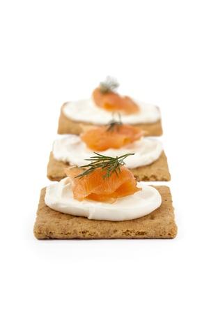graham: Graham crackers with smoked salmon and sour cream
