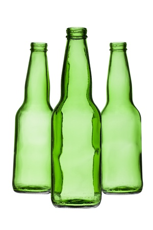 Illustration of green bottles in a white background 版權商用圖片