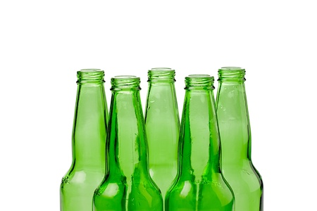 Close-up shot of green bottles for recycling. photo