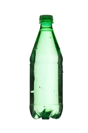Close up image of green bottle with water against white background
